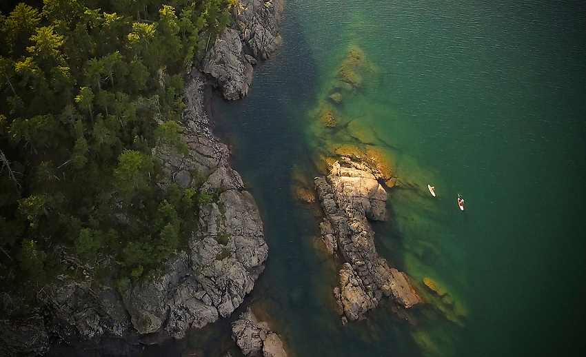 STILL FROM VIDEO 2670x1626<br /> Drone shot of SUP paddlers on Lake Superior near Marquette, Michigan.