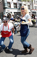 April 2, 2010: Tom Schanley and Lisa Jey Davis at the LA Mission Easter Luncheon event for the homeless in Los Angeles, California. .Photo by Nina Prommer/Milestone Photo.