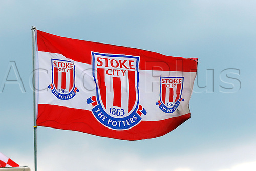 27.02.2016. Britannia Stadium, Stoke, England. Barclays Premier League. Stoke City versus Aston Villa. A stoke flag flies in the wind