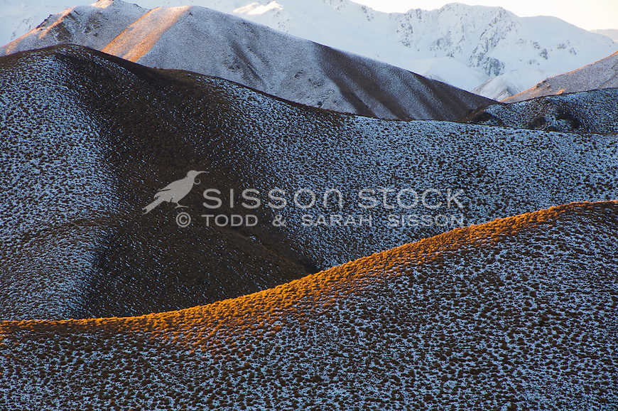 Close up of snowy hills in the Lindis Pass, South Island