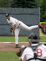 July 14, 2004:  Pitcher Jason Vargas of the Jamestown Jammers, Single-A NY-Penn League affiliate of the Florida Marlins, during a game at Russell Diethrick Park in Jamestown, NY.  Photo by:  Mike Janes/Four Seam Images