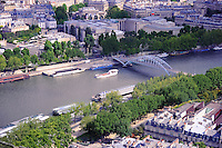 Steel bridge over Seine river, Paris