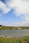 Israel, Coastal Plain, water reservoir at Nahal Pura