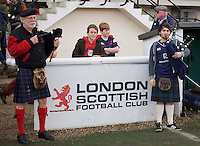 The Pipers of London Scottish Football Club before the Greene King IPA Championship match between London Scottish Football Club and Ealing Trailfinders at Richmond Athletic Ground, Richmond, United Kingdom on 26 December 2015. Photo by Alan  Stanford / PRiME Media Images