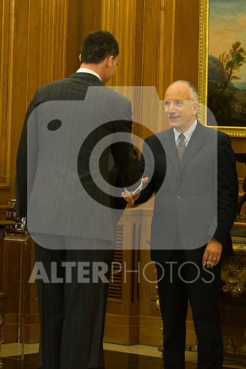 12.07.2012.Prince Felipe of Spain attends the Representation of the Organizers Participants in the 22 th World Congress of Political Science (IPSA World Congress ´Madrid 2012´) chaired by D. Juan Luis Paniagua at the Royal Palace of La Zarzuela in Madrid. In the image Prince Felipe (Alterphotos/Marta Gonzalez)