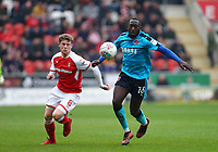 Toumani Diagouraga of Fleetwood Town wins the ball against Matt Palmer of Rotherham United during the Sky Bet League 1 match between Rotherham United and Fleetwood Town at the New York Stadium, Rotherham, England on 7 April 2018. Photo by Leila Coker.