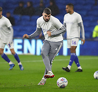 31st January 2020; Cardiff City Stadium, Cardiff, Glamorgan, Wales; English Championship Football, Cardiff City versus Reading; Callum Paterson of Cardiff City warms up before the game - Strictly Editorial Use Only. No use with unauthorized audio, video, data, fixture lists, club/league logos or 'live' services. Online in-match use limited to 120 images, no video emulation. No use in betting, games or single club/league/player publications