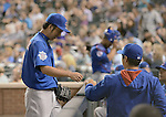 Kyuji Fujikawa, Tsuyoshi Wada (Cubs),<br /> AUGUST 6, 2014 - MLB : Kyuji Fujikawa (L) and Tsuyoshi Wada (R) of the Chicago Cubs during the Major League Baseball game against the Colorado Rockies at Coors Field, Denver,  Colorado, USA.<br /> (Photo by AFLO)