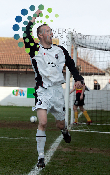 Colin McMenamin takes  a goal for Gretna during the Gretna v Partick Thistle match 1st Division, Raydale Park. Pic: Maurice McDonald / Universal News.  31/3/2007
