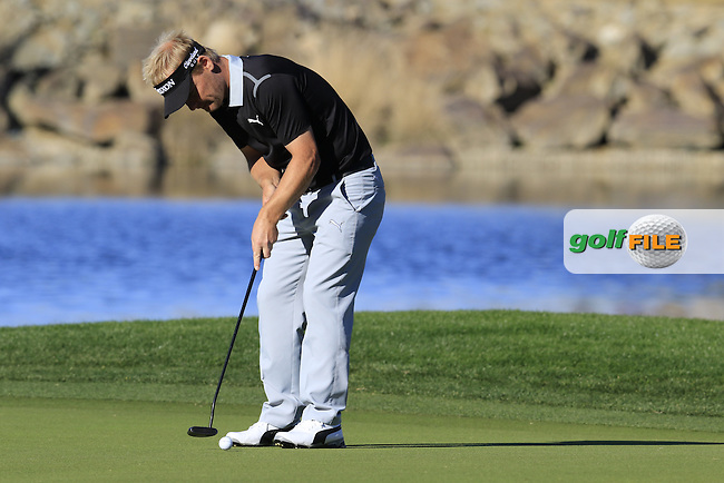 Soren Kjeldsen (DEN) takes his putt on 17th  green during Saturday's Round 3 of the 2017 CareerBuilder Challenge held at PGA West, La Quinta, Palm Springs, California, USA.<br /> 21st January 2017.<br /> Picture: Eoin Clarke | Golffile<br /> <br /> <br /> All photos usage must carry mandatory copyright credit (&copy; Golffile | Eoin Clarke)