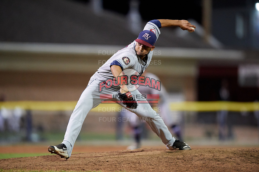 Mahoning Valley Scrappers  delivers a pitch during a game against the Batavia Muckdogs on August 16, 2017 at Dwyer Stadium in Batavia, New York.  Batavia defeated Mahoning Valley 10-6.  (Mike Janes/Four Seam Images)