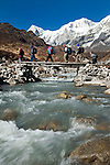 Dr Shresth Tayal (far left), Glaciologist at The Energy and Resources Institute (TERI) leads his team over a bridge toward the fast reducing Rathong Glacier below the 6678 meter Rathong Peak (snow covered peak at left) after a three day hike in the North East Indian state of Sikkim close to the Nepalese border. Considered to be a themometre of the environment, it has been chosen by TERI to be a test case of environmental damage being done in India and China. Dr. Tayal is conducting three dimensional tests that include measuring the depth of the ice to form concrete conclusions on the fate of the glacier.The Indian Government is denying the glaciers' demise despite data suggesting it has been reduced by more than over 80% in the last 42 years.