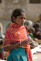 Jetu, the 13 year old newly elected Prime Minister of the Children's Parliament in Rajasthan, at the Parliament's first session in Tilonia. The children parliamentarians have all been elected from village night schools across the state and meet to discuss and tackle real issues such as lack of water or solar lighting in remote villages and in night schools...
