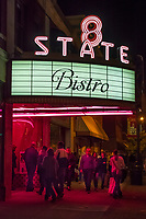 The 8 State Bistro marquee in uptown Westerville shines brightly after being restored for the restaurant's planned opening.
