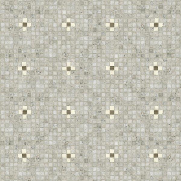 Bloom, a hand-cut mosaic, shown in polished Driftwood, Socorro Grey, and Bianco Antico.
