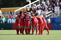 Cary, NC - Sunday October 22, 2017: Korea players huddle before the start of the second half during an International friendly match between the Women's National teams of the United States (USA) and South Korea (KOR) at Sahlen's Stadium at WakeMed Soccer Park. The U.S. won the game 6-0.
