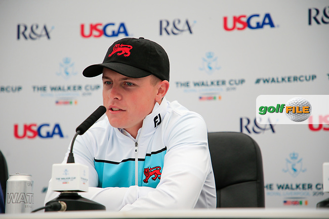 Conor Purcell  (GB&I) during the press conference at the Walker Cup, Royal Liverpool Golf CLub, Hoylake, Cheshire, England. 06/09/2019.<br /> Picture Fran Caffrey / Golffile.ie<br /> <br /> All photo usage must carry mandatory copyright credit (© Golffile | Fran Caffrey)