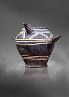 Vasiliki Ware spouted jar,  Vasiliki 2300-1900 BC BC, Heraklion Archaeological  Museum, grey background.
