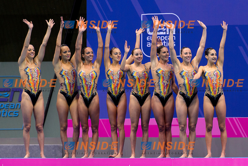 ITALY ITA ITALIA Bronze Medal <br /> BOZZO, CALLEGARI, CATTANEO, DEIDDA, FERRO, FLAMINI, PERRUPATO, SGARZI, CERRUTI, GALLI <br /> Team Technical Final <br /> London, Queen Elizabeth II Olympic Park Pool <br /> LEN 2016 European Aquatics Elite Championships <br /> Synchronized Swimming <br /> Day 01 09-05-2016<br /> Photo Andrea Staccioli/Deepbluemedia/Insidefoto