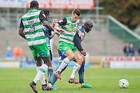 Adebayo Akinfenwa of Wycombe Wanderers holds off Kevin Dawson of Yeovil Town during the Sky Bet League 2 match between Yeovil Town and Wycombe Wanderers at Huish Park, Yeovil, England on 8 October 2016. Photo by Mark  Hawkins / PRiME Media Images.