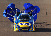 Feb 26, 2016; Chandler, AZ, USA; NHRA funny car driver Ron Capps during qualifying for the Carquest Nationals at Wild Horse Pass Motorsports Park. Mandatory Credit: Mark J. Rebilas-
