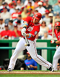 19 June 2011: Washington Nationals' outfielder Laynce Nix in action against the Baltimore Orioles at Nationals Park in Washington, District of Columbia. The Orioles defeated the Nationals 7-4 in inter-league play, ending Washington's 8-game winning streak. Mandatory Credit: Ed Wolfstein Photo