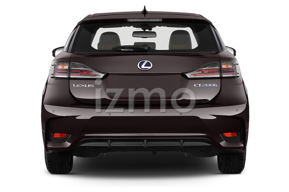 Straight rear view of a 2015 Lexus CT Executive 5 Door Hatchback 2WD Rear View  stock images