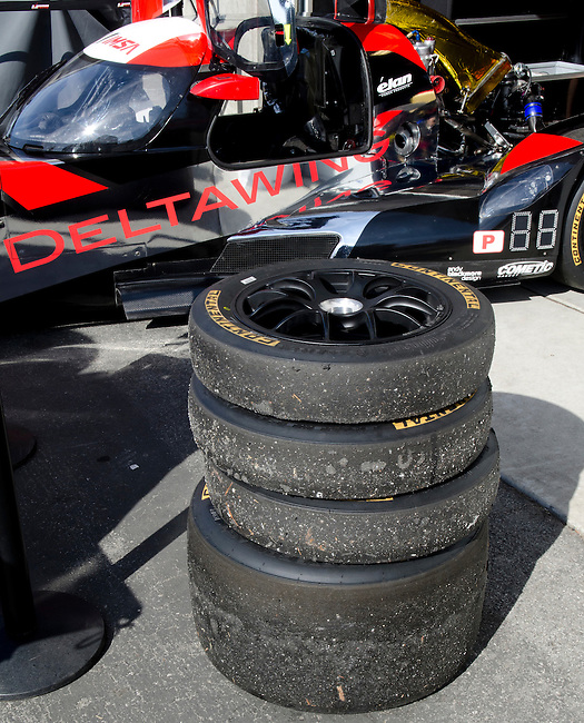 Monterey California, May 4, 2014, Laguna Seca Monterey Grand Prix, Used tires in front of DeltaWing racer.