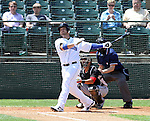 SIOUX FALLS, SD - JUNE 2: John Alonso #23 from the Sioux Falls Canaries watches the ball on a solo home run against the Wichita Wingnuts Sunday afternoon at the Sioux Falls Stadium. (Photo by Dave Eggen/Inertia)
