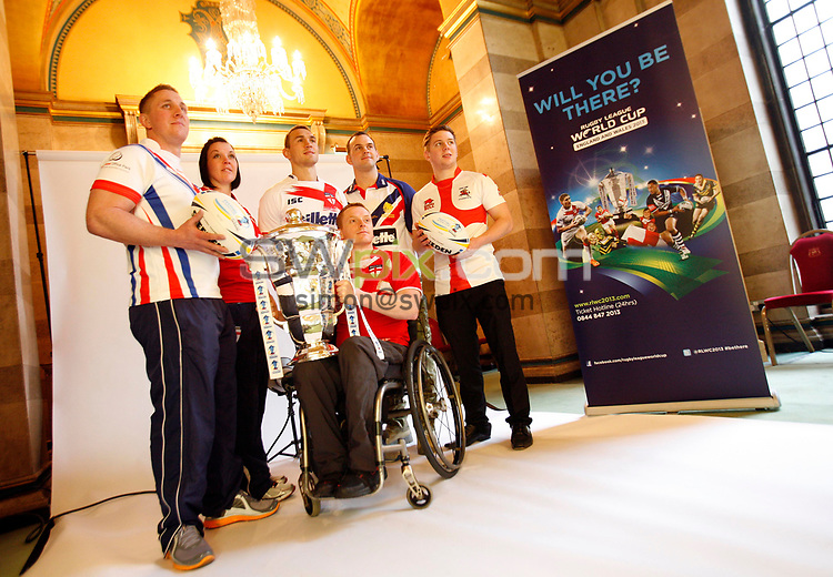 PICTURE BY SIMON WILKINSON/SWPIX.COM - Rugby League - World Cup 2013 - Festival of World Cups Launch - Leeds Civic Hall, Leeds, England - 12/02/13 - The RFL is hosting The Festival of World Cups this summer featuring separate competitions for Women, Wheelchair, Police, Student and Armed Forces with the Men's RLWC 2013 taking place this autumn.  The 6 England Captains (L-R) - Adam Newton of GB Police RL, Emma Slowe of England Women RL, Kevin Sinfield of England RL, Andy Wharton of England Wheelchair RL, Chris Gordon of GB Armed Forces RL and Alistair Leek of England Student RL.