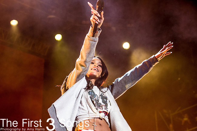 Rihanna performs at White River State Park in Indianapolis, Indiana.