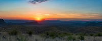 We capture this wonderful sunset panorama at the Sotol Vista Overlook in Big Bend National Park.   You can see Santa Elena canyon to the left of the sun as it set over the Sierra Ponce mountains in the distance along sotols growing at the overlook.