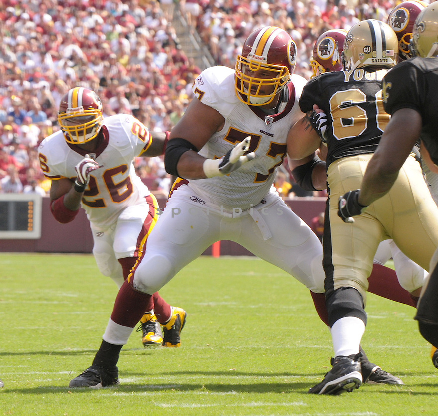 RANDY THOMAS, of the Washington Redskins, in action during the Redskins game against the New Orleans Saints on September 14, 2008 in Washington DC...Redskins win 29-24..SportPics