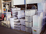Pile plastic storage boxes