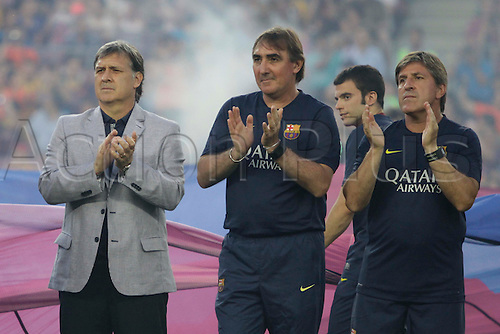 02.08.2013 Barcelona, Spain. Joan Gamper Trophee. Picture shows Tata Martino (L) and Joan Roura (R)in action during game between FC Barcelona against Santos at Camp Nou