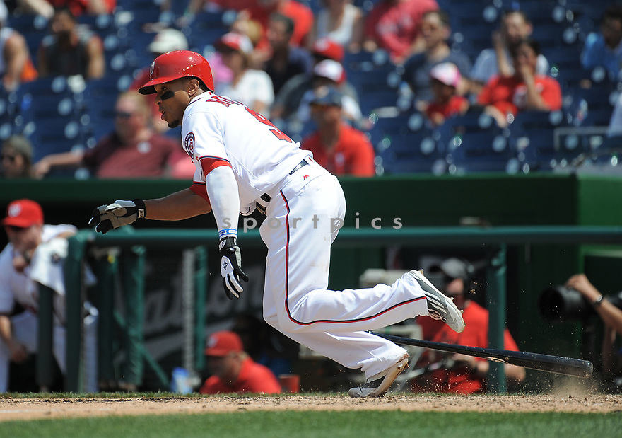 Washington Nationals Ben Revere (9) during a game against the Philadelphia Phillies on June 11, 2016 at Nationals Park in Washington, DC. The Nationals beat the Phillies 8-0.