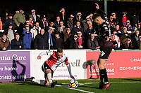 Joe Ward of Woking and Jordan Williams of Bury during Woking vs Bury, Emirates FA Cup Football at The Laithwaite Community Stadium on 5th November 2017