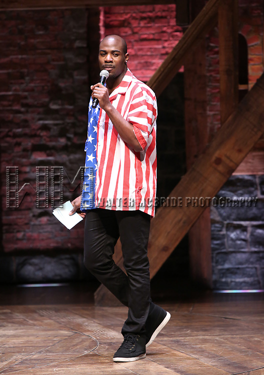 """Host Justin Dine Bryant during The Rockefeller Foundation and The Gilder Lehrman Institute of American History sponsored High School student #eduHam matinee performance of """"Hamilton"""" at the Richard Rodgers Theatre on May 9, 2018 in New York City."""