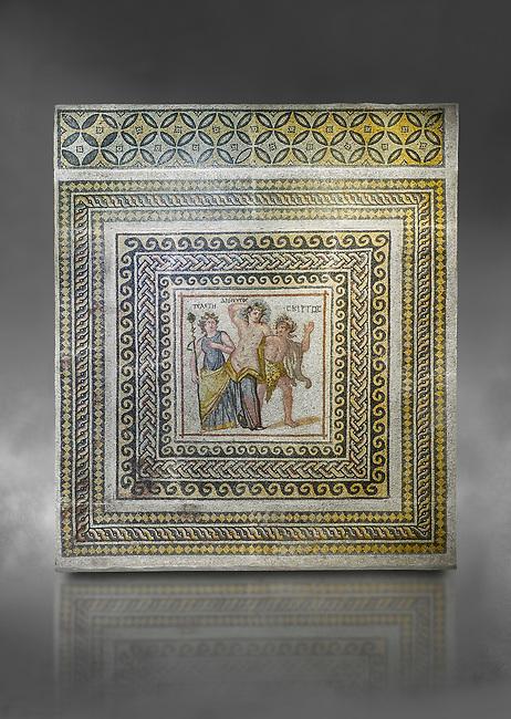 Roman mosaics - Dionysus Mosaic. Poseidon Villa Ancient Zeugama, 3rd century AD . Zeugma Mosaic Museum, Gaziantep, Turkey.  Against a grey background.