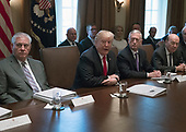 United States President Donald J. Trump makes opening remarks as he holds a Cabinet meeting in the Cabinet Room of the White House in Washington, DC on Wednesday, January 10, 2018.  Pictured from left to right: US Secretary of State Rex Tillerson; President Trump; US Secretary of Defense Jim Mattis; and US Secretary of Commerce Wilbur Ross.<br /> Credit: Ron Sachs / Pool via CNP