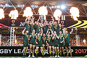 2nd December 2017, Brisbane, Australia;  Australia win the World Cup shown on podium after the Rugby League World Cup Mens Final match between Australia and England at Brisbane Stadium, Brisbane, Australia