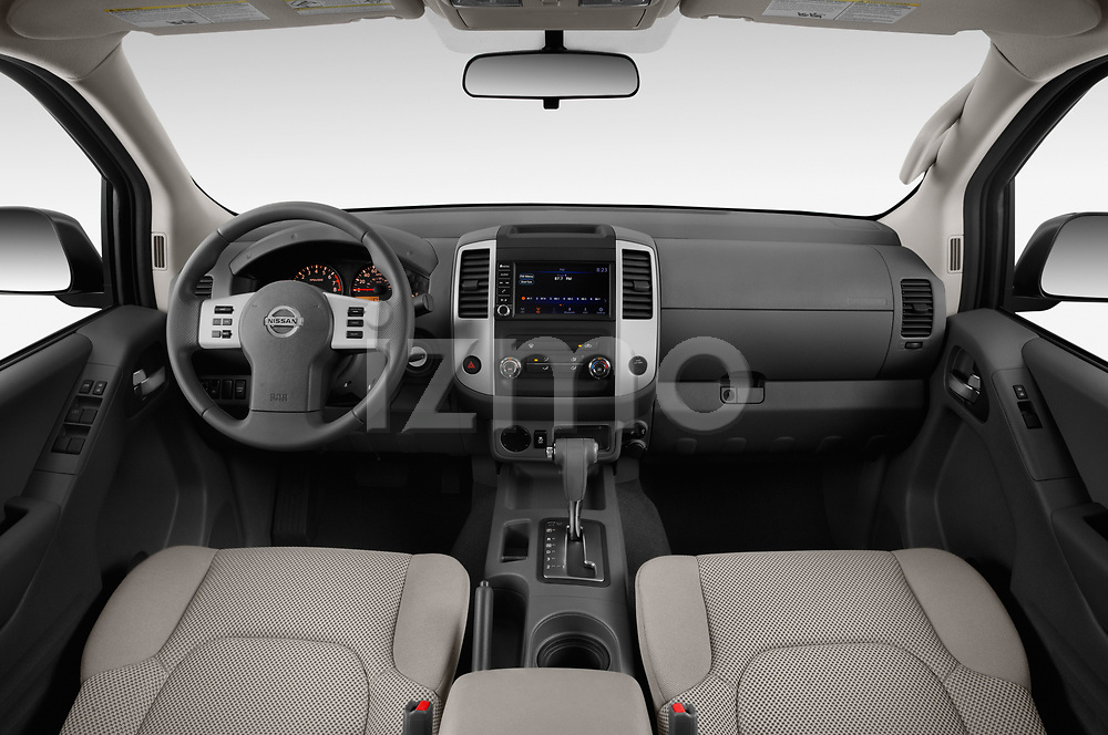 Stock photo of straight dashboard view of a 2019 Nissan Frontier SV 4 Door Pick Up