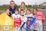 Stephen McCarthy, Darren Aherne (FAI), Shane Walsh, Jordan Christie, Shanon McEnerney, Hazel Byrne (Kerry Local Sports Partnership) and Diana Racova  pictured at the launch of Football against racism in Europe at Holy Family School on Thursday.