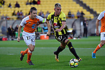 Wellington Phoenix&rsquo; Monty Patterson and Brisbane&rsquo;s Matt McKay in action during the A League - Wellington Phoenix v Brisbane Roar FC at Westpac Stadium, Wellington, New Zealand on Sunday 25 March 2018.<br /> Photo by Masanori Udagawa. <br /> www.photowellington.photoshelter.com