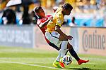Eduardo Vargas (CHI), Thiago Silva (BRA),<br /> JUNE 28, 2014 - Football / Soccer :<br /> FIFA World Cup Brazil 2014 Round of 16 match between Brazil 1(3-2)1 Chile at Estadio Mineirao in Belo Horizonte, Brazil. (Photo by D.Nakashima/AFLO)