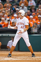 Kacy Clemens #42 of the Texas Longhorns at bat against the Rice Owls at Minute Maid Park on February 28, 2014 in Houston, Texas.  The Longhorns defeated the Owls 2-0.  (Brian Westerholt/Four Seam Images)