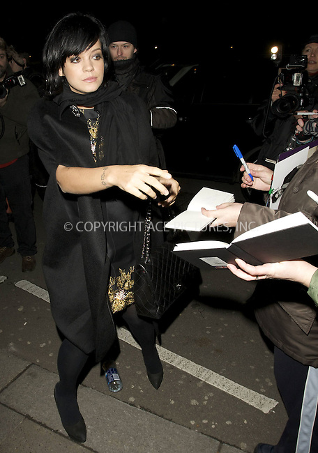 WWW.ACEPIXS.COM . . . . .  ..... . . . . US SALES ONLY . . . . .....February 2010, London....Lily Allen during London Fashion Week in February 2010 in London....Please byline: FAMOUS-ACE PICTURES... . . . .  ....Ace Pictures, Inc:  ..tel: (212) 243 8787 or (646) 769 0430..e-mail: info@acepixs.com..web: http://www.acepixs.com