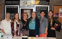 NWA Democrat-Gazette/CARIN SCHOPPMEYER Volunteers Janet Humphrey (from left), Caroline Leemis, Robbie Elliott, Eden Miller, Nikki Cathcart-Sievert and Becky Estep welcome guests to 5x5.