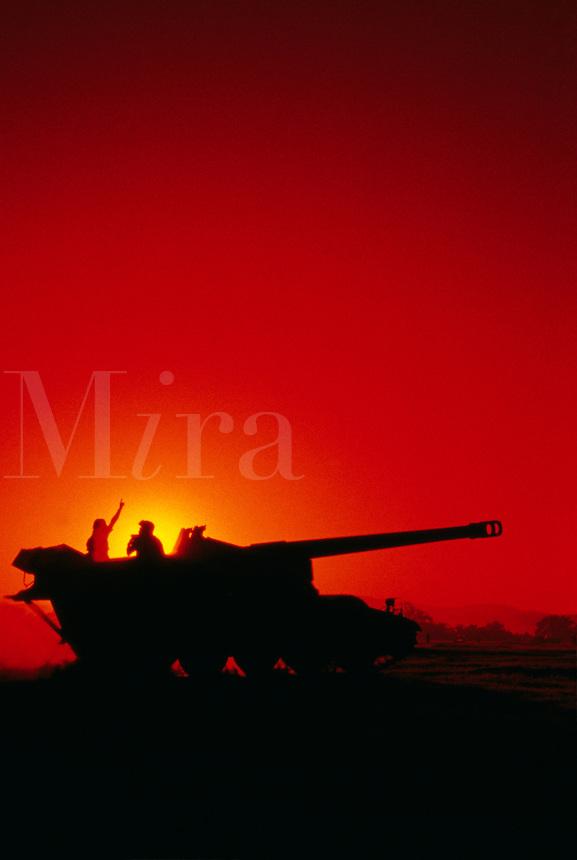144th Field Artillery of the California National Guard on maneuvers at Camp Roberts, Californi