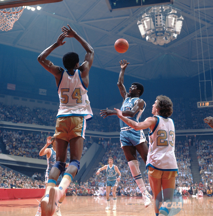 28 MAR 1977:  Marquette center Jerome Whitehead (54), guard Jim Boylan (23) and North Carolina guard Phil Ford (12) during the NCAA Men's National Basketball Final Four championship game held in Atlanta, GA at the Omni. Marquette defeated North Carolina 67-59 for the title. Photo by Rich Clarkson/NCAA Photos.SI CD 0023-42